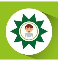 Cute boy eco sun icon vector