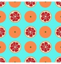 Cute seamless pattern with red grapefruit slices vector image