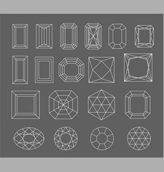 diamond set of gems drawing line crystal vector image