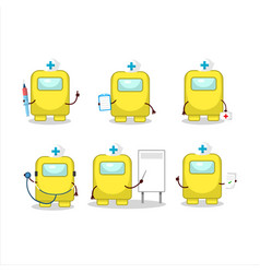 Doctor profession emoticon with among us yellow vector