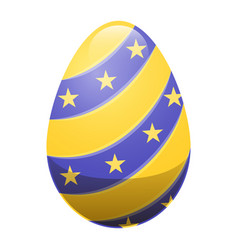 easter egg with ornamental lines and yellow stars vector image