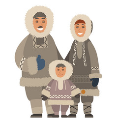 eskimo family in fur clothes embracing vector image