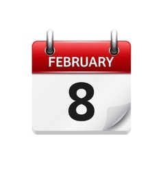 February 8 flat daily calendar icon Date vector