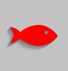 fish sign red icon with soft vector image