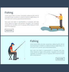 Fishing poster with people vector
