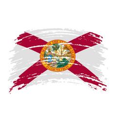 Florida flag in grunge brush stroke vector