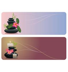 flower and zen stones banner vector image