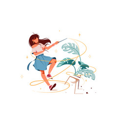 Girl with magic wand turning potted plant into vector
