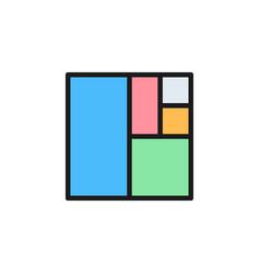 golden ratio square flat color icon vector image