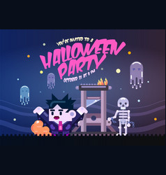 Halloween poster with guillotine ghosts skeleton vector