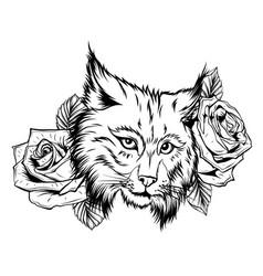 hand drawn lynx head retro realistic animal vector image