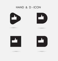 Hand sign and d - letter icon abstract logo vector
