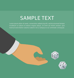 hand with two dices vector image