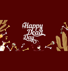 happy day of the dead horizontal banner vector image