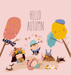 happy kids playing with autumn leaves hello vector image