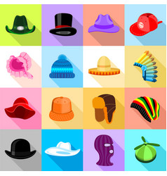 Headdress hat icons set colorful flat style vector
