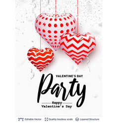 holiday party text and 3d hearts on white vector image