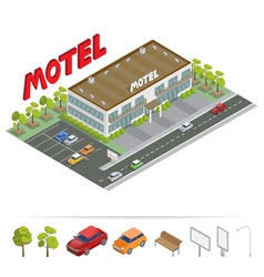 Isometric Building Motel with Parking vector