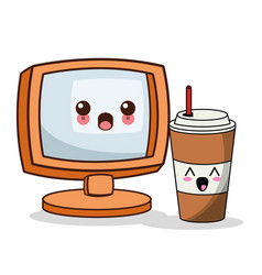 Kawaii screen paper cup straw image vector
