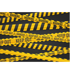 Keep out yellow ribbons on black vector