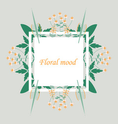 Lettering with leaves floral mood hand sketched vector