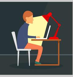 man freelancer at notebook concept background vector image