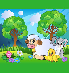 meadow with spring animals vector image