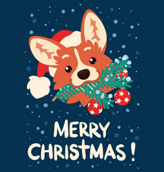 Merry christmas and happy new year cute corgi dog vector