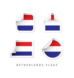 Netherlands label flags template design vector