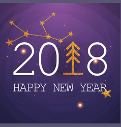 New year 2018 greeting card typography postcard vector