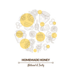 organic honey banner template with hand drawn vector image