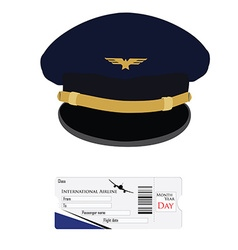 Pilot cap and airplane ticket vector