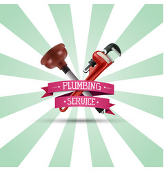 Pipe wrench and plunger on sunburst background vector