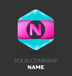 Realistic letter n logo in colorful hexagonal vector