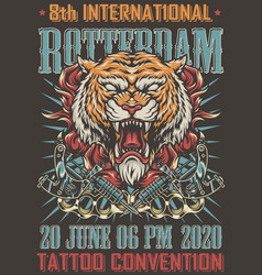 rotterdam tattoo convention colorful poster vector image