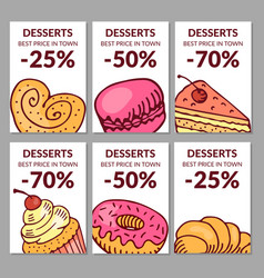 Sale of desserts bakery and cafe vector