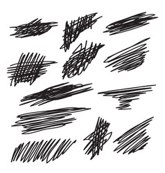 scribble brush strokes set vector image