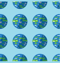 seamless pattern earth planet on bright blue vector image