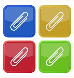 Set of four square icons with paper clip vector