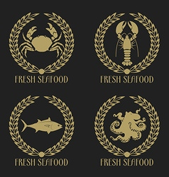 Set of the fresh seafood labels vector image