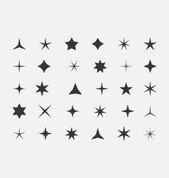 set stars and highlights star icon vector image