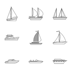 Ship icons set outline style vector image