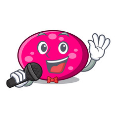 singing ellipse mascot cartoon style vector image