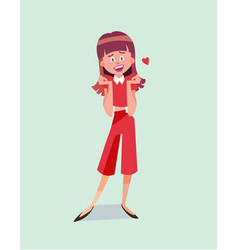 single cartoon girl vector image