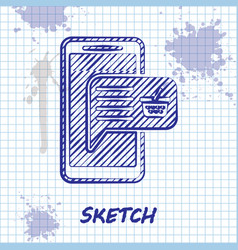 sketch line mobile phone and shopping basket icon vector image