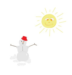 Snow man and sun vector