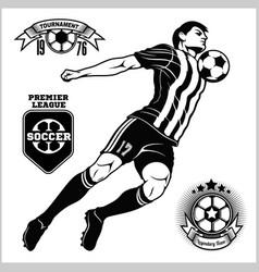 Soccer football player running and kicking a ball vector