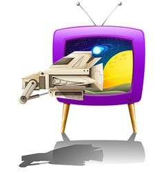Spaceship flying in the space on TV vector image