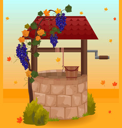 stone water well autumn season vector image