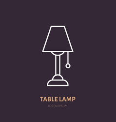 table lamp flat line icon home lighting light vector image
